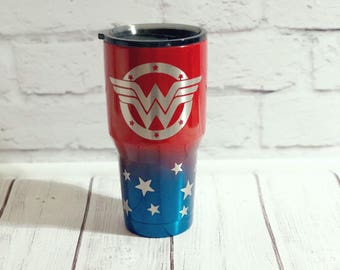 Wonder Woman powder coated tumbler/Wonder Woman custom tumbler/Superhero tumbler/Personalized Wonder Woman cup/Wonder Woman gift/Yeti cup