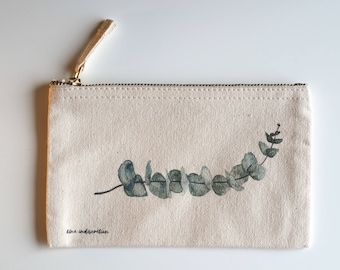 pouch, zipped pouch, vanity pouch, watercolor, make-up, eucalyptus, bag, storage