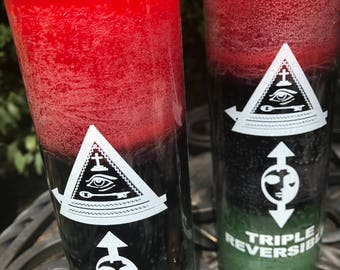 Triple reversible candle reversing money, negativity and root chakra imbalances