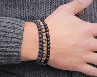 Men's Bracelet Set Christmas  Mens Beaded Bracelet Set    Mens Gift Tiger Eye Onyx Lava Bracele