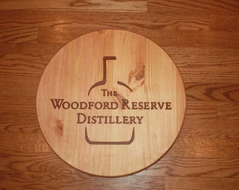 Woodford Reserve Bourbon Whiskey - Circular Wooden CNC Engraved Bar Sign