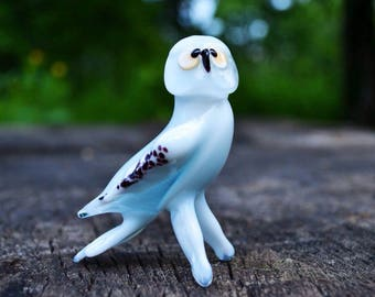 White glass owl figurine animals glass owl birds sculpture art glass owl toy murano owls animals ornaments owls toys figure gifts