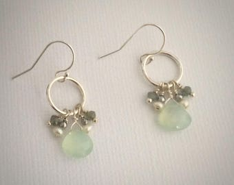 Aqua Chalcedony Earrings, Chalcedony Dangles, Cluster Earrings, Aqua Dangles, March birthstone, Dangles, Gifts for Her