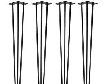 4x Hairpin legs, table legs, 71 cm, 3 rods, black, furniture legs, table runners, hairpin legs, table frame, dining table, coffee table, DIY