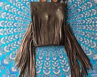 Chocolate brown fringe leather backpack