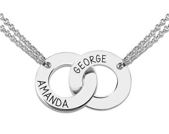 Personalized Two Circle Interlocking Engraved Name Necklace