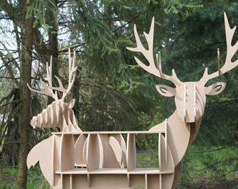 Cabinet deer, stag, table, puzzle 3d, plywood, Bookshelf, deer, plywood art