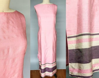 neapolitan / 1960s pink silk boat neck column gown with stripe border / 6 8 small