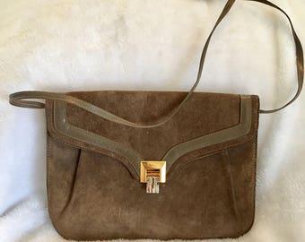 Vintage brown suede/leather handle bag from 1970s - Erik for Holiner