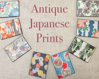Antique Japanese Prints Garland--Japanese Fabric Art, Vintage fabric prints, Vintage Japanese art, birthday gift, Wall art, Mothers day gift