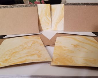Pack of 4 Yellow Greeting Cards