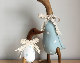 Duck egg blue and white duck and duckling pair