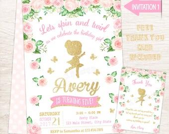 Ballerina Birthday Invitation, Ballerina Invitation, Ballerina Party, Printable Birthday Invitation