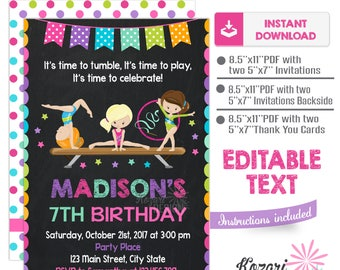 Editable Gymnastics Invitation , Birthday Invitation , Gymnastics Birthday Invitation, Instant Download, Editable Pdf