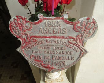 Old French Metal Agriculture Plaque.