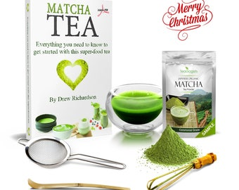 CHRISTMAS GIFT BOX - Matcha Green Tea & Teaware Tasting Box Set for Japanese Tea Ceremony by Teaologists - Unique Present with Digital eBook