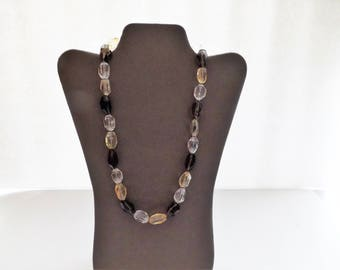 Genuine smoky quartz, citrine, and rock quartz necklace - one of a kind