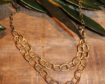 Antique Brass Chain and Gold Necklace