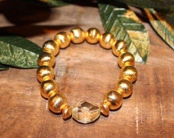 Brushed Gold Beaded Stretch Bracelet with Clear Accent