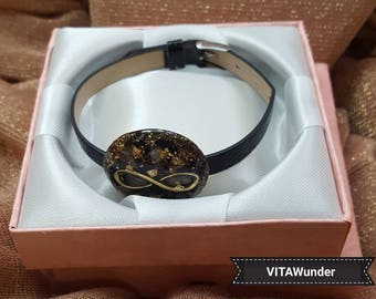 """VITAWunder-Orgonite ® bracelet with narrow strap-round-""""infinity"""" (Gold and silver)"""