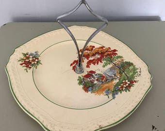 """Vintage Burgess Ware England 'The Haven' Cake Plate 8.5"""""""