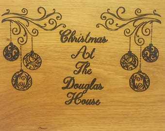 oak sign - oak plaque - personalised - christams name  - rustic wall art - room decor  - christmas present - house warming - best friend