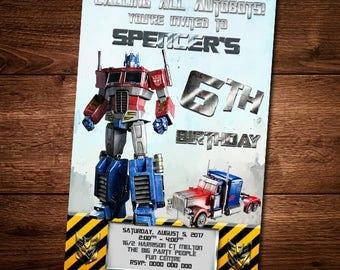 Optimus Prime Birthday Invitation Card, Transformers, Optimus Prime, Invite Card, Editable Text, Birthday invite Card