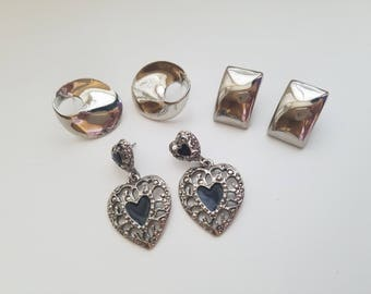 Geometric 1980's Dangle and Drop Silver Tone Earrings! Large Circle Earrings, Large Rectangle Earrings and Silver and Black Heart Earrings!