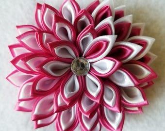 Flower Hair Clip - Kanzashi Hair Clip - Pink Hair Flower - Pink Hair Clip - Hair Flower - Pink and White Hair Flower - Pink and White Clip