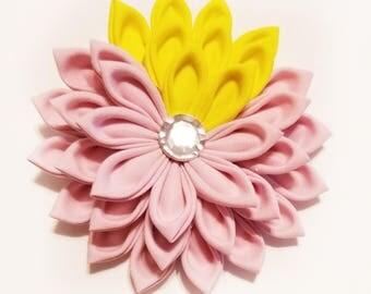 Kanzashi Hair Clip - Floral Hair Clip - Pink Kanzashi Hair Flower - Pink Flower Hair Clip - Pink Hair Clip - Kanzashi Clip