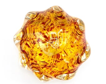 Amber tone Swirl Art glass Orb or Glass Paperweight