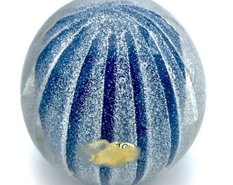Purple Blue White Murano Italian Latticino Paperweight w/ Caning Resembles a Coral Reef Creature! Some of the ORIGINAL Sticker remains!