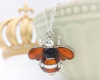 Bee Necklace, Bumble Bee Necklace, Amber Bee Necklace, Silver Bee Necklace, Bee Jewelry, Bee Jewel, Gift for Her