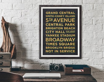 New York Train Stations Retro Vintage Poster Art Print