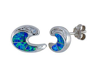 Sterling Silver Blue Opal Stud Earrings CZ Accent
