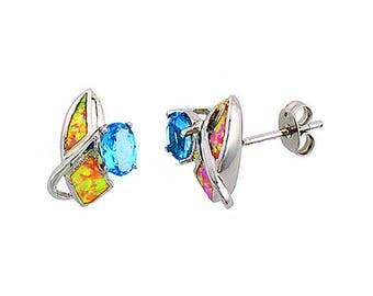 Sterling Silver Pink Opal Stud Earrings Blue Topaz