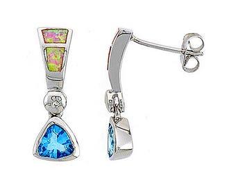 Sterling Silver Pink Opal Dangle Earrings Blue Topaz CZ Accent