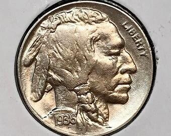 1936 D Buffalo Nickel - Choice BU / MS / UNC