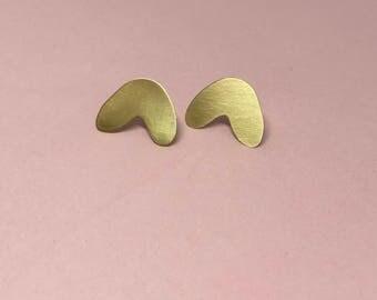 Fortune Cookie Brass Stud Earrings