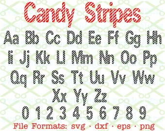 CANDY STRIPE  Monogram Svg Letters & Numbers, Svg Dxf Eps, Png Candy Cane Svg, Christmas Letters, Svg Monogram Letters, Cricut, Silhouette