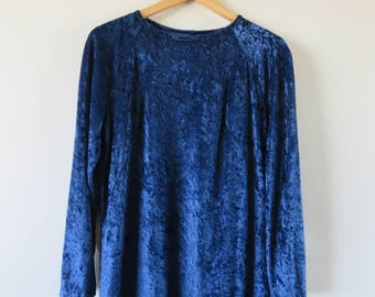 90s CRUSHED VELVET Oversized Blue Dress Draped Loose Midi Long Sleeve Raglan Dance Club Kid Glam Party / Size 8-12