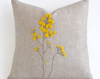 Hand Embroidery Designs , Embroidery Designs , Yellow Natural Linen Pillow, Decorative Pillows for Couch, Raw linen pillow, Linen Throw