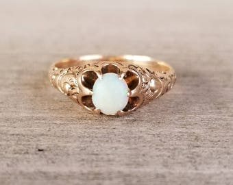 Victorian engraved opal ring in rose gold