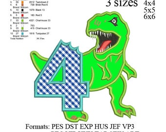 Scary T-rex Dinosaur Applique birthday Embroidery Design,Dinosaur embroidery pattern No 583 ... 3 sizes