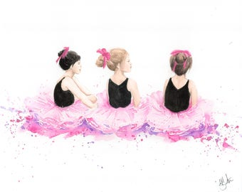 Three Little Ballerinas - Watercolor painting, pink room decorations, ballet, ballerina theme, abstract art