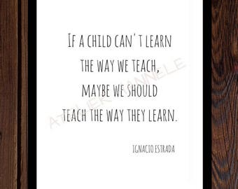 If a child, educational quote, instant download