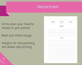 Recipe Planner Insert , Cooking Inserts, Recipe Inserts, Recipe journal, Recipe notes, Kikki-K Large, Filofax