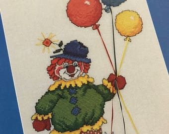 Clowns 1 Counted Cross Stitch pattern book, 3 clown patterns
