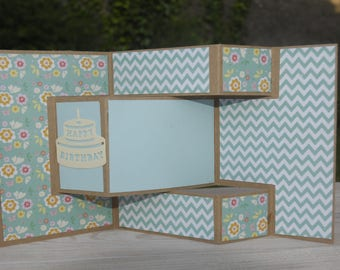 Birthday card in size 9, 5 x 14, 5 folded and 29 x 14, 5 unfolded in Brown and blue