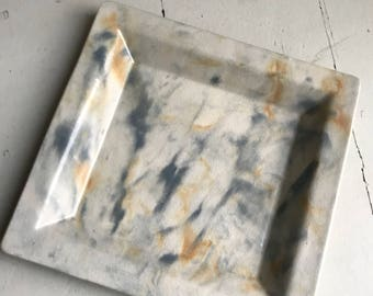 Large Grey and Yellow Square Ceramic Serving Platter
